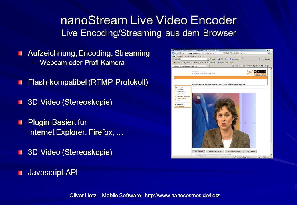 nanoStream Live Video Encoder Live Encoding/Streaming aus dem Browser