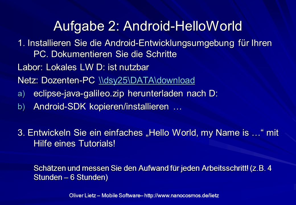 Aufgabe 2: Android-HelloWorld