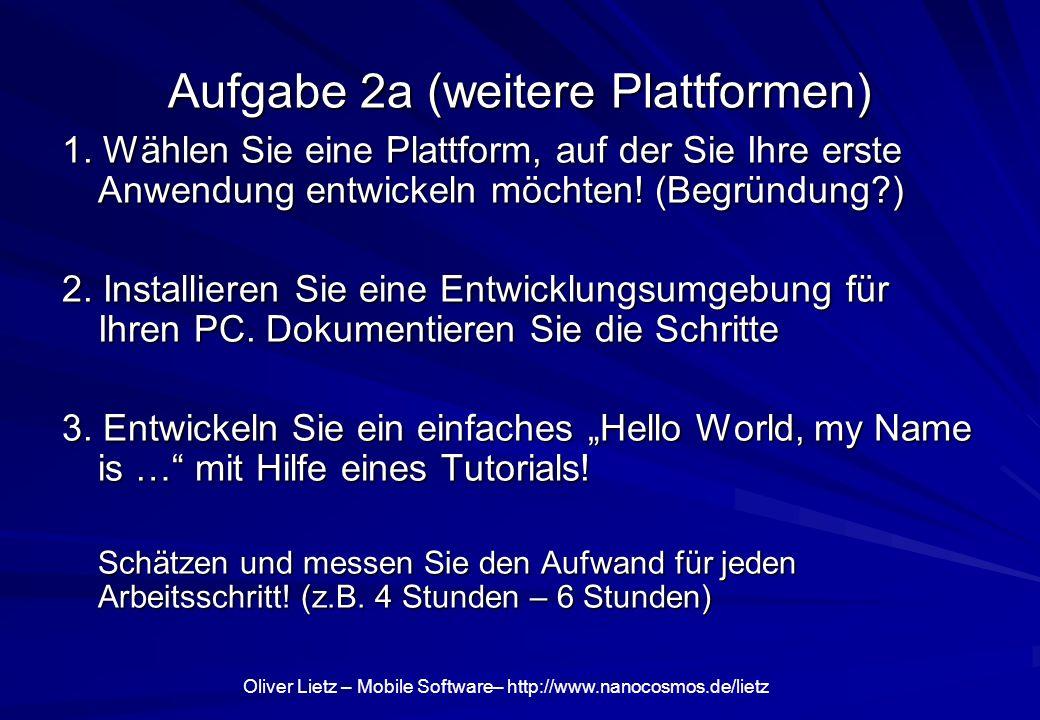 Aufgabe 2a (weitere Plattformen)