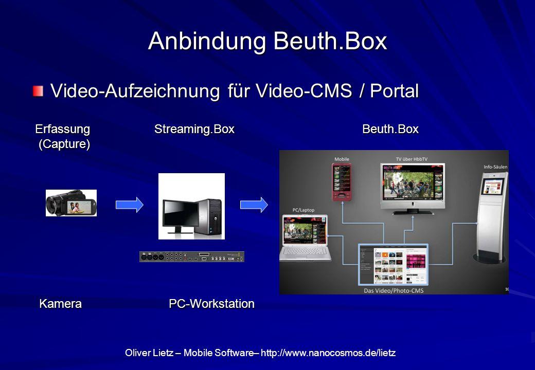 Anbindung Beuth.Box Video-Aufzeichnung für Video-CMS / Portal