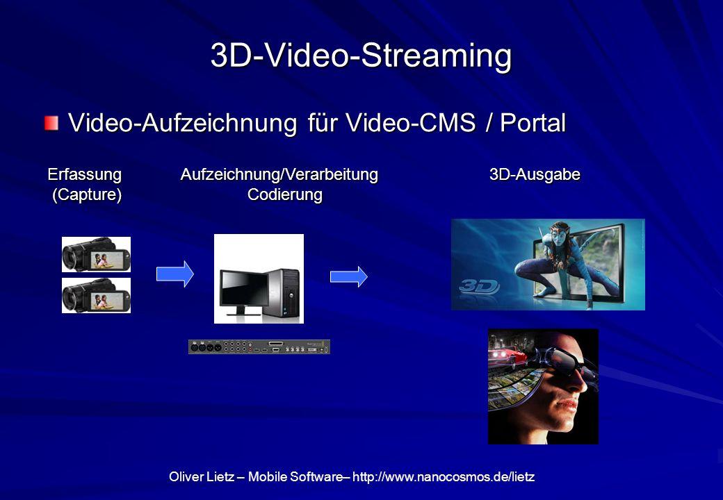 3D-Video-Streaming Video-Aufzeichnung für Video-CMS / Portal