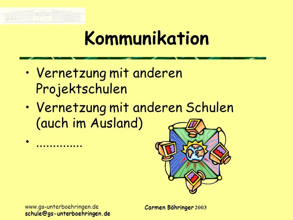 Kommunikation Vernetzung mit anderen Projektschulen