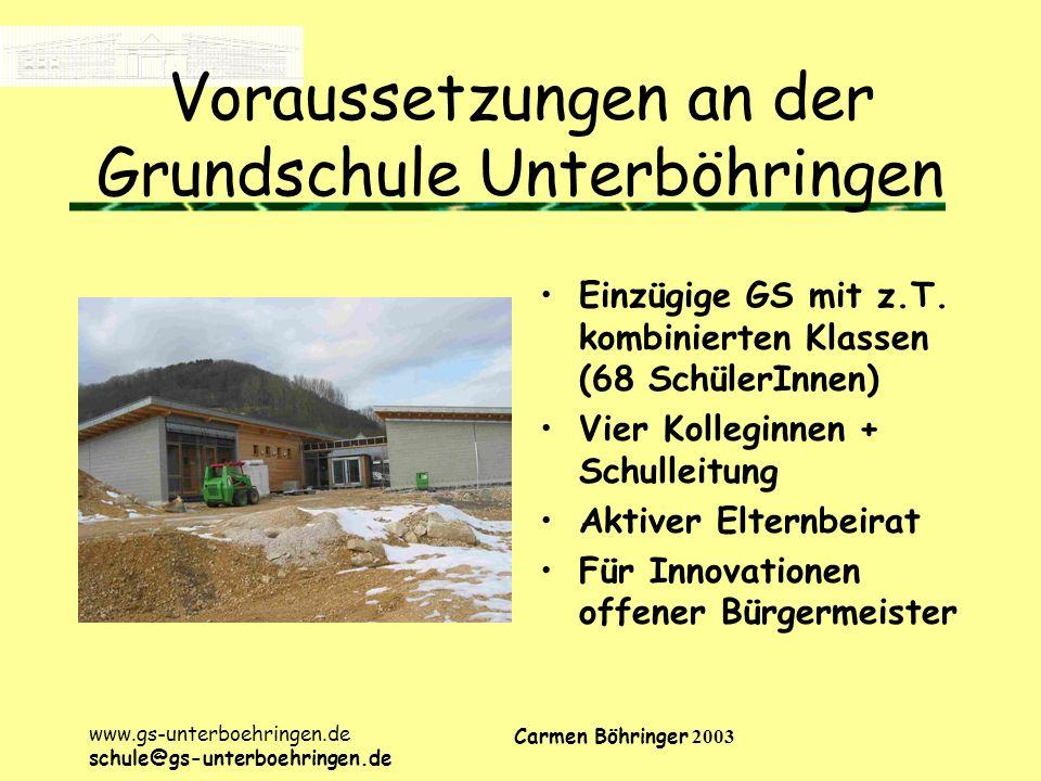 Voraussetzungen an der Grundschule Unterböhringen