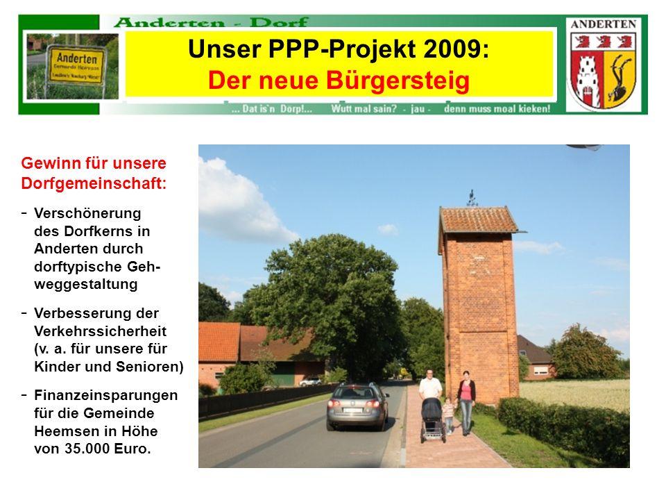 Unser PPP-Projekt 2009: Der neue Bürgersteig