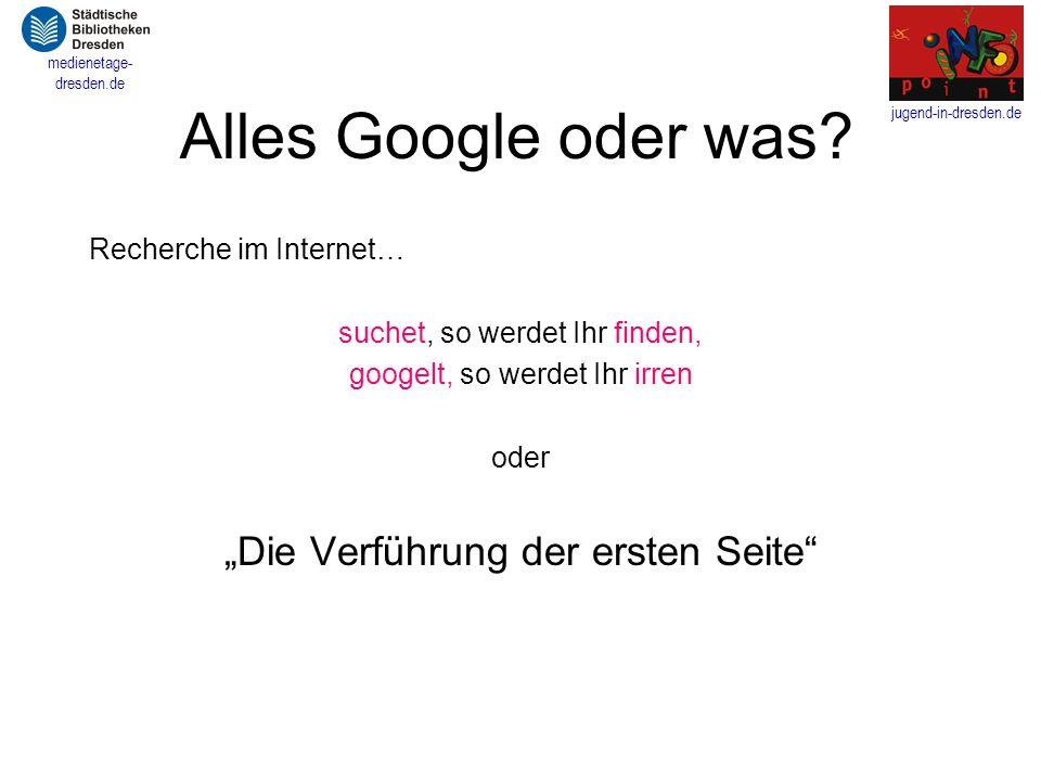 """Alles Google oder was """"Die Verführung der ersten Seite"""