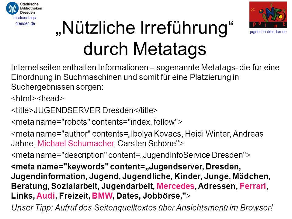 """""""Nützliche Irreführung durch Metatags"""