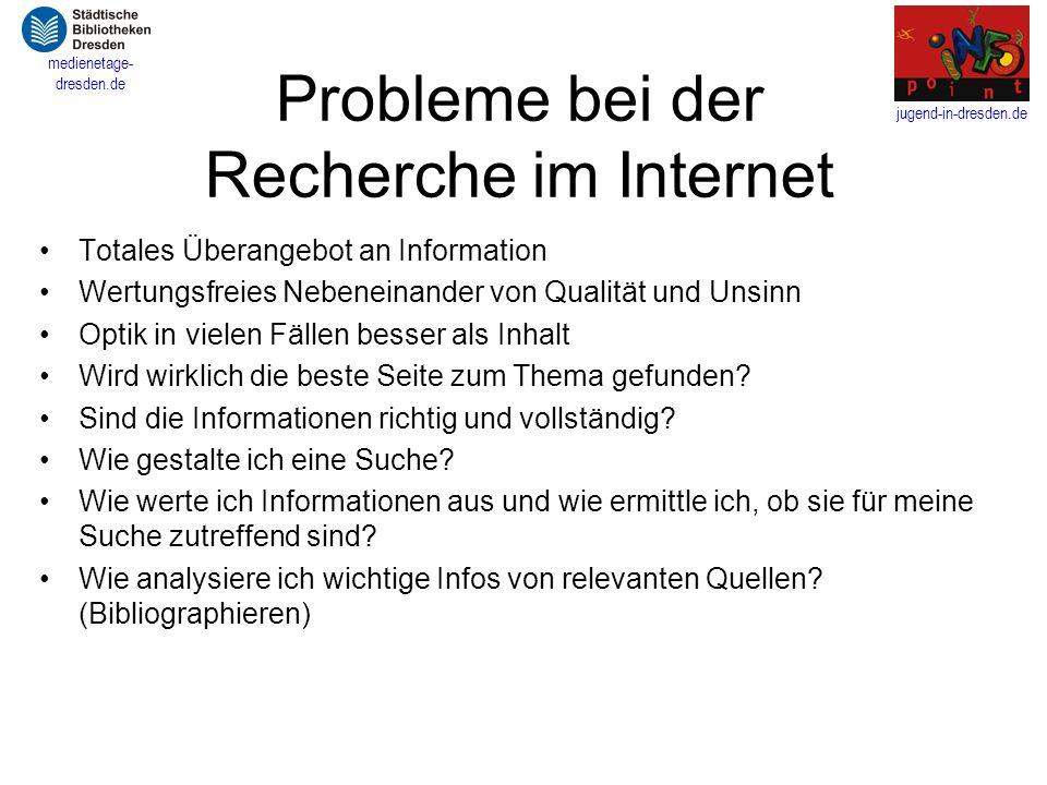 Probleme bei der Recherche im Internet