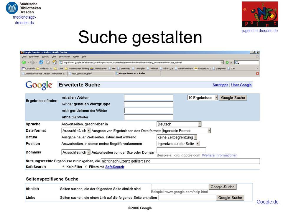 Suche gestalten Google.de