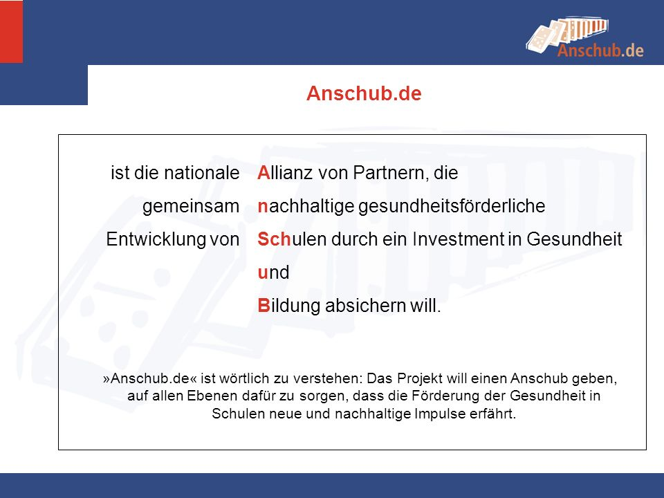 Anschub.de ist die nationale gemeinsam Entwicklung von