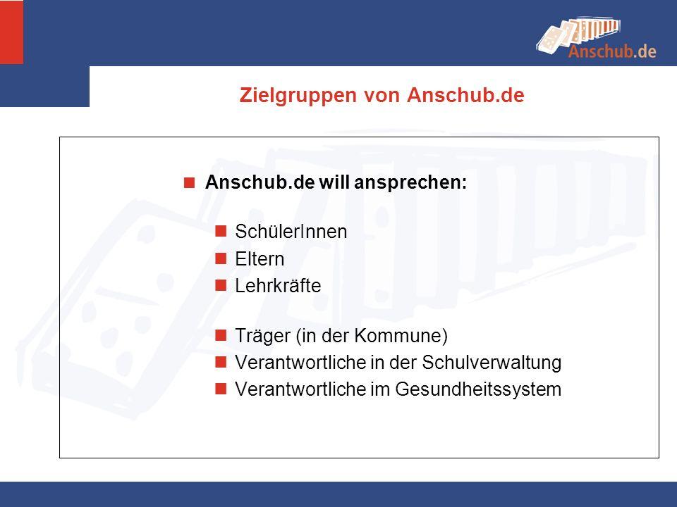 Zielgruppen von Anschub.de