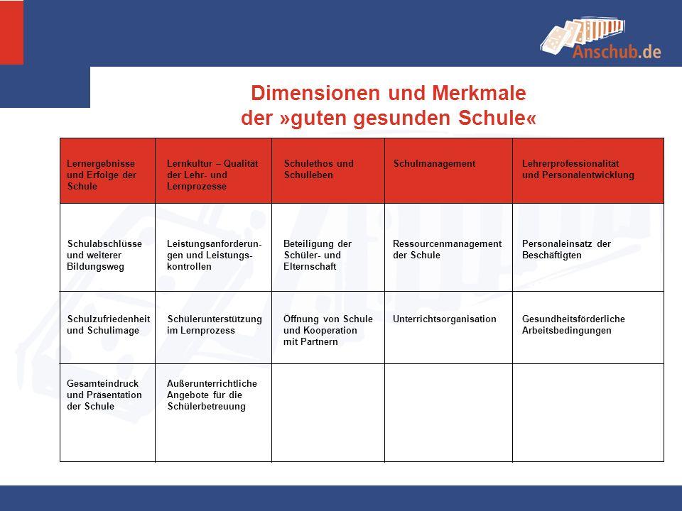 Dimensionen und Merkmale der »guten gesunden Schule«