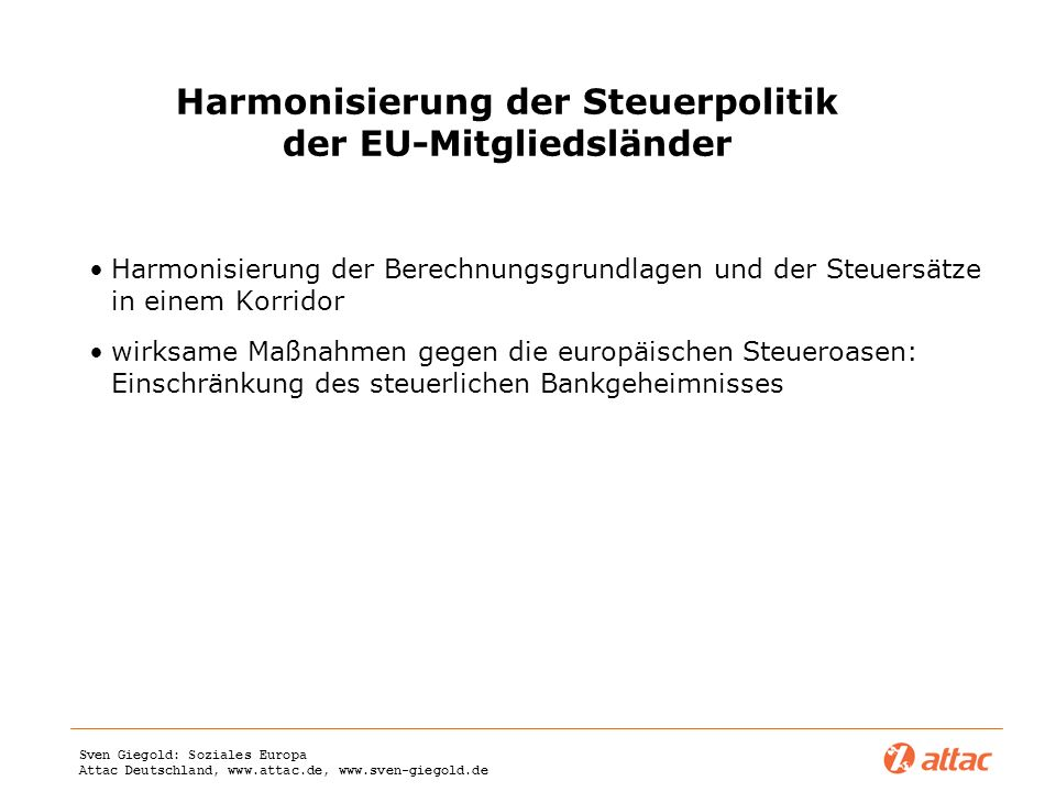 Harmonisierung der Steuerpolitik der EU-Mitgliedsländer