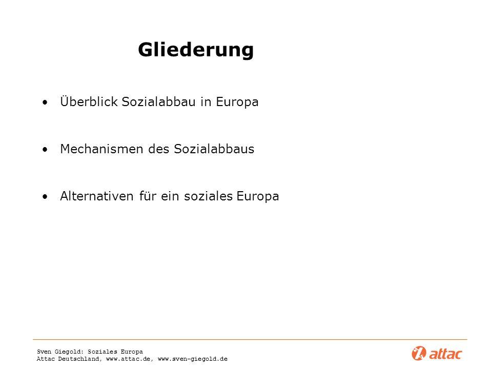 Gliederung Überblick Sozialabbau in Europa