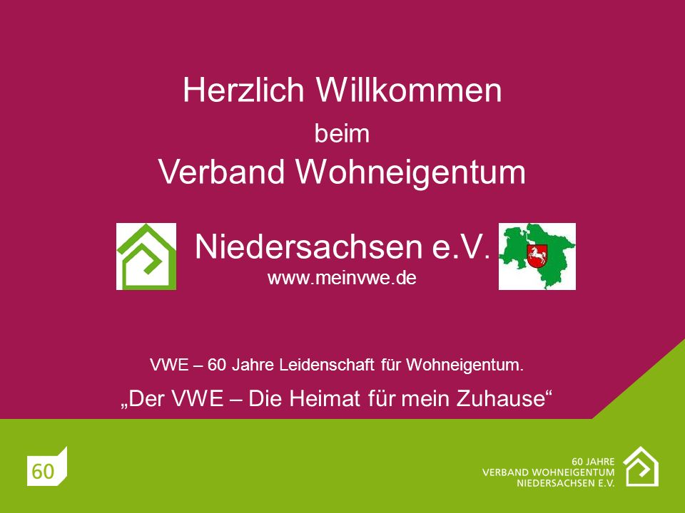Herzlich Willkommen beim Verband Wohneigentum Niedersachsen e. V. www