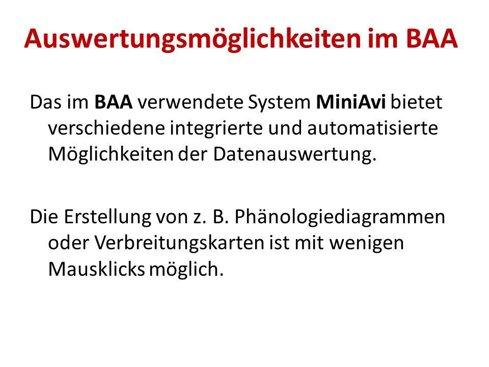 Auswertungsmöglichkeiten im BAA