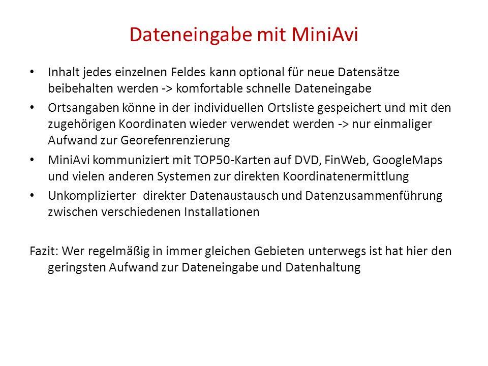 Dateneingabe mit MiniAvi