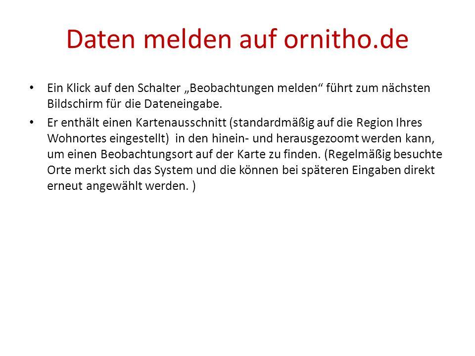 Daten melden auf ornitho.de