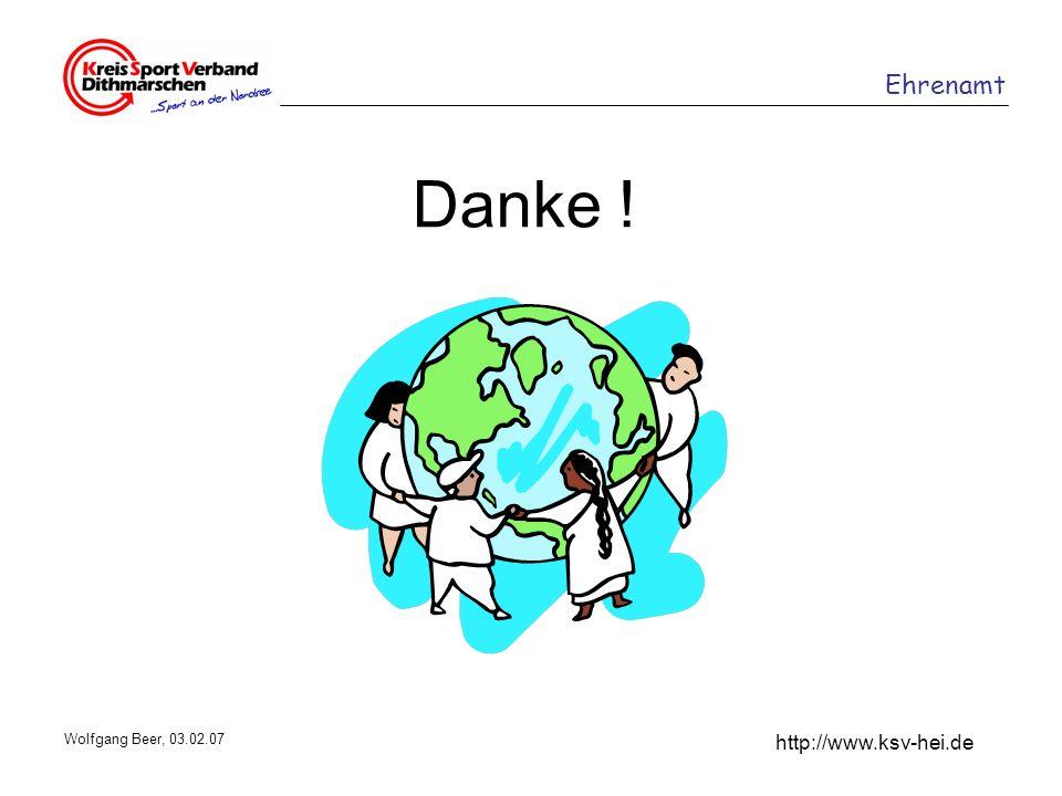 Danke ! Wolfgang Beer, 03.02.07