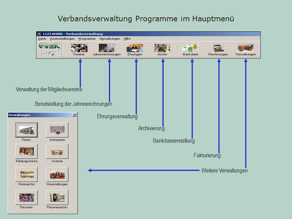 Verbandsverwaltung Programme im Hauptmenü