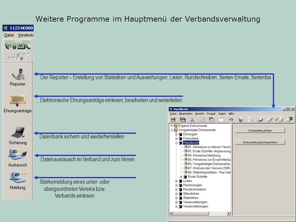 Weitere Programme im Hauptmenü der Verbandsverwaltung