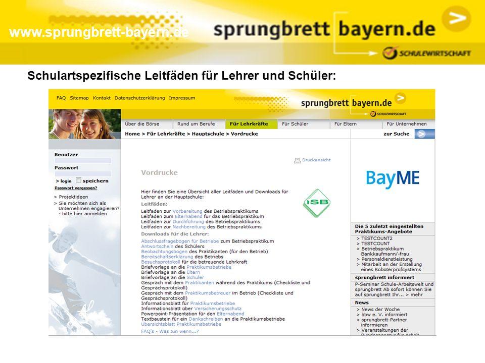 www.sprungbrett-bayern.de Schulartspezifische Leitfäden für Lehrer und Schüler: