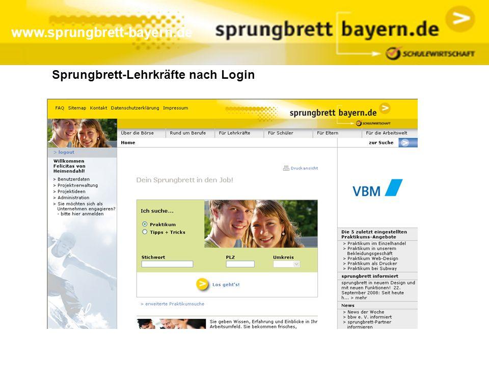 www.sprungbrett-bayern.de Sprungbrett-Lehrkräfte nach Login