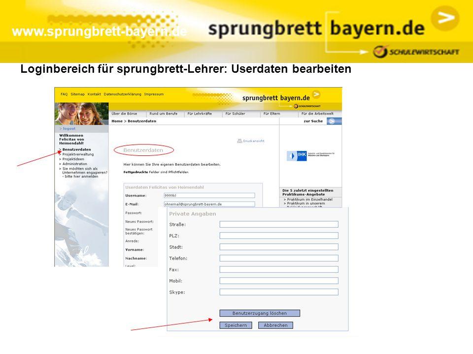 www.sprungbrett-bayern.de Loginbereich für sprungbrett-Lehrer: Userdaten bearbeiten