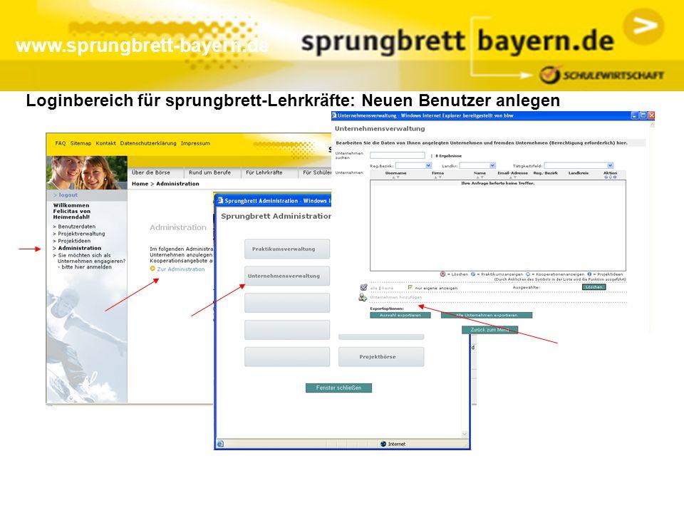www.sprungbrett-bayern.de Loginbereich für sprungbrett-Lehrkräfte: Neuen Benutzer anlegen