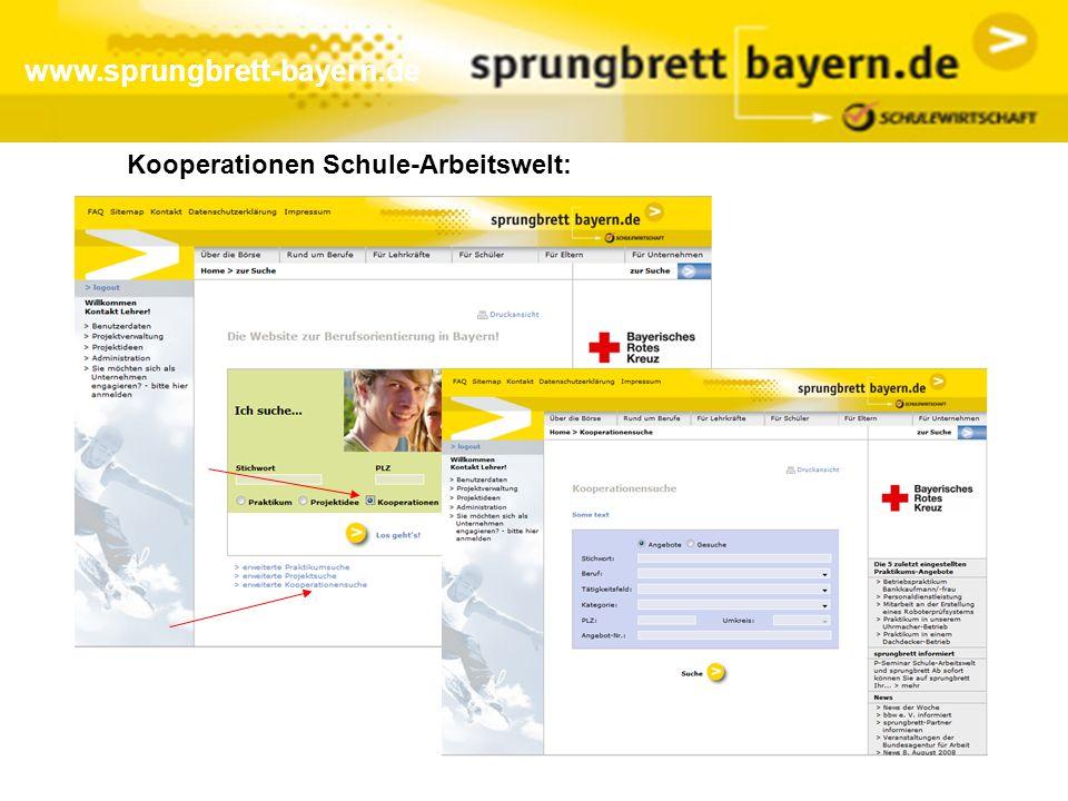 www.sprungbrett-bayern.de Kooperationen Schule-Arbeitswelt: