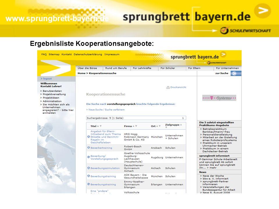www.sprungbrett-bayern.de Ergebnisliste Kooperationsangebote: