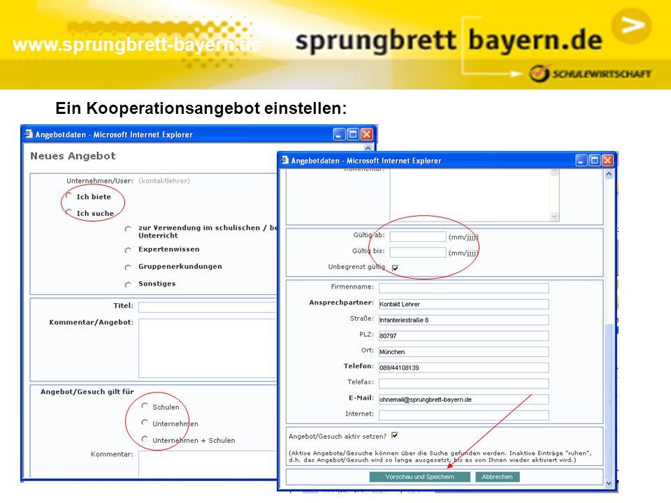 www.sprungbrett-bayern.de Ein Kooperationsangebot einstellen: