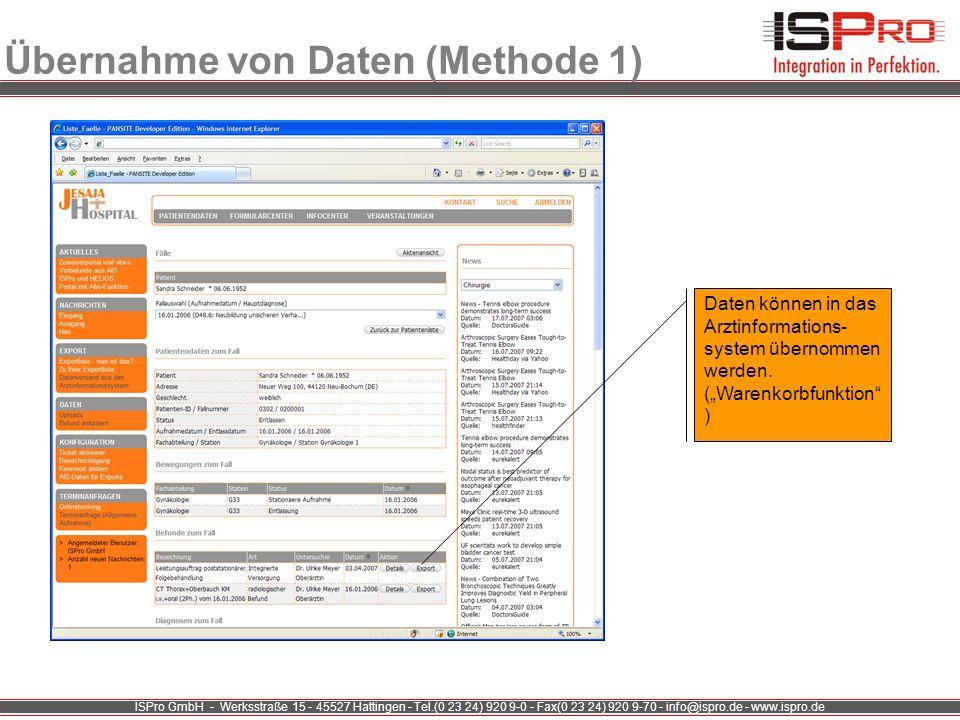 Übernahme von Daten (Methode 1)