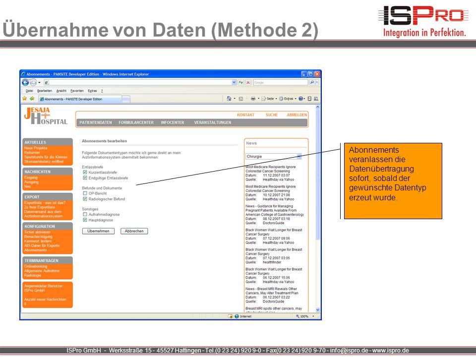 Übernahme von Daten (Methode 2)