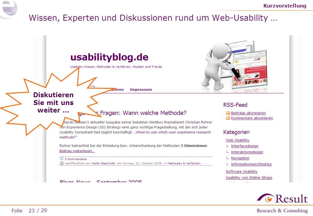 Wissen, Experten und Diskussionen rund um Web-Usability …