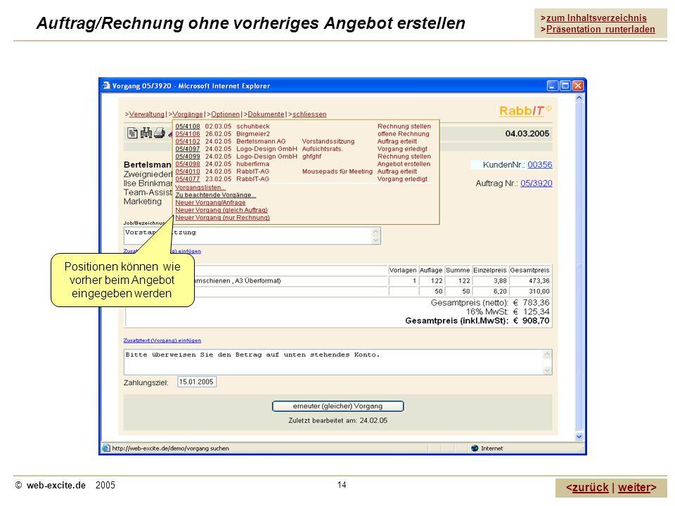 Auftrag/Rechnung ohne vorheriges Angebot erstellen