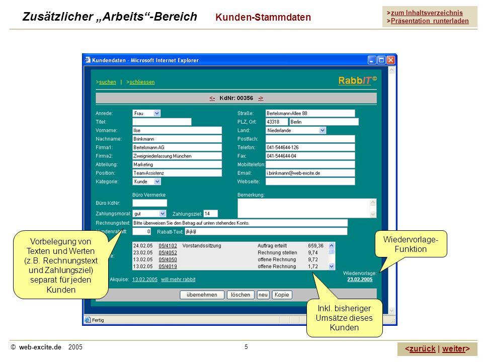 """Zusätzlicher """"Arbeits -Bereich Kunden-Stammdaten"""