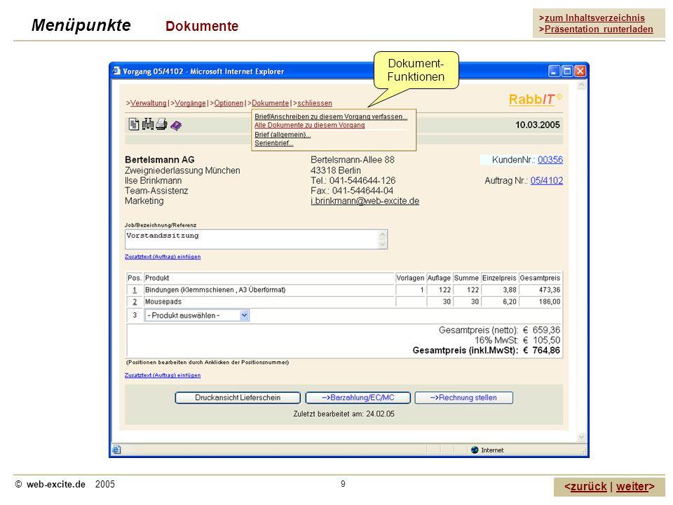 Menüpunkte Dokumente Dokument-Funktionen