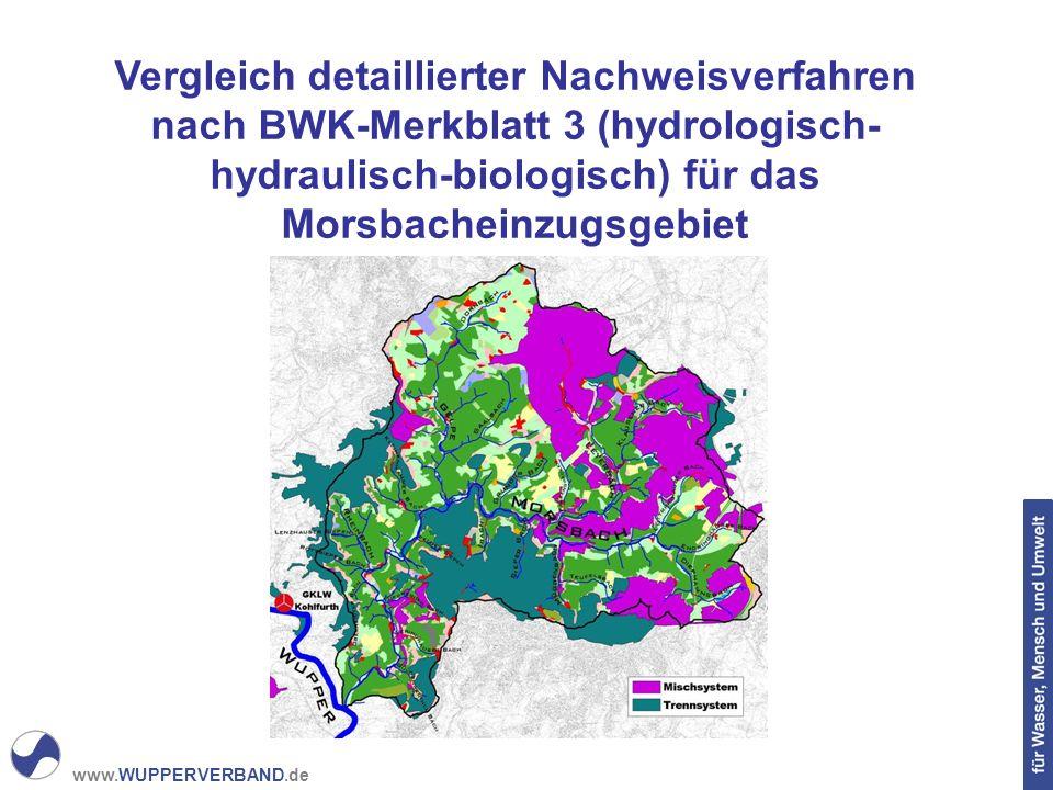 Vergleich detaillierter Nachweisverfahren nach BWK-Merkblatt 3 (hydrologisch-hydraulisch-biologisch) für das Morsbacheinzugsgebiet