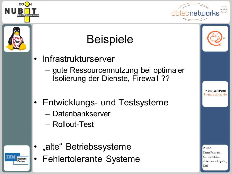 Beispiele Infrastrukturserver Entwicklungs- und Testsysteme