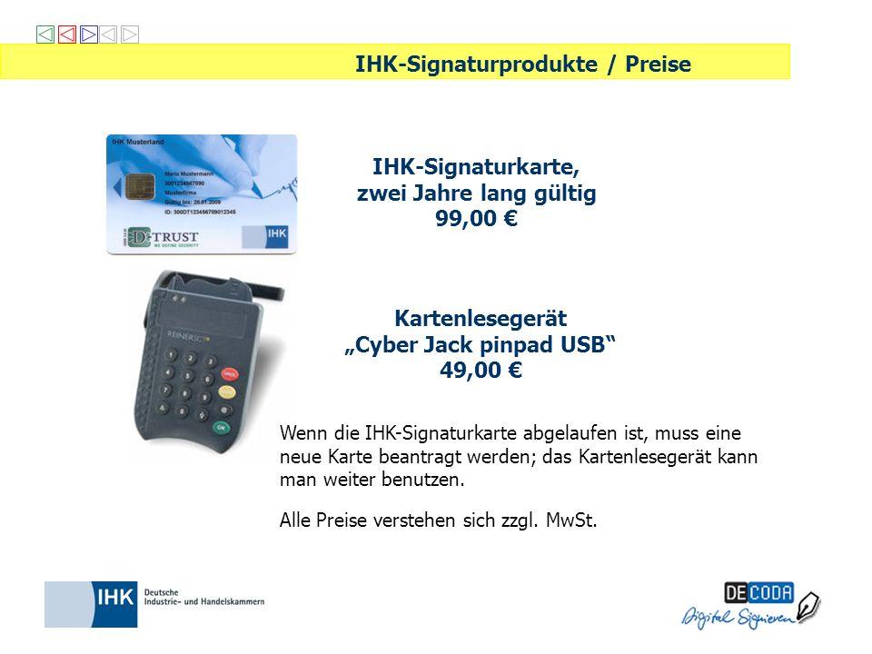 IHK-Signaturprodukte / Preise