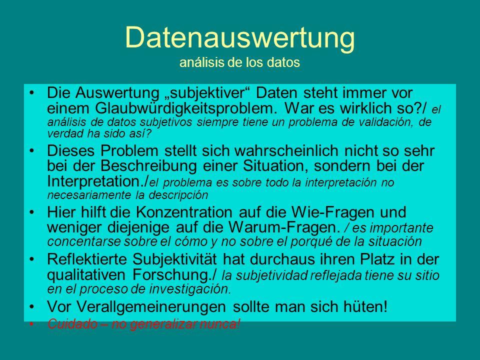 Datenauswertung análisis de los datos