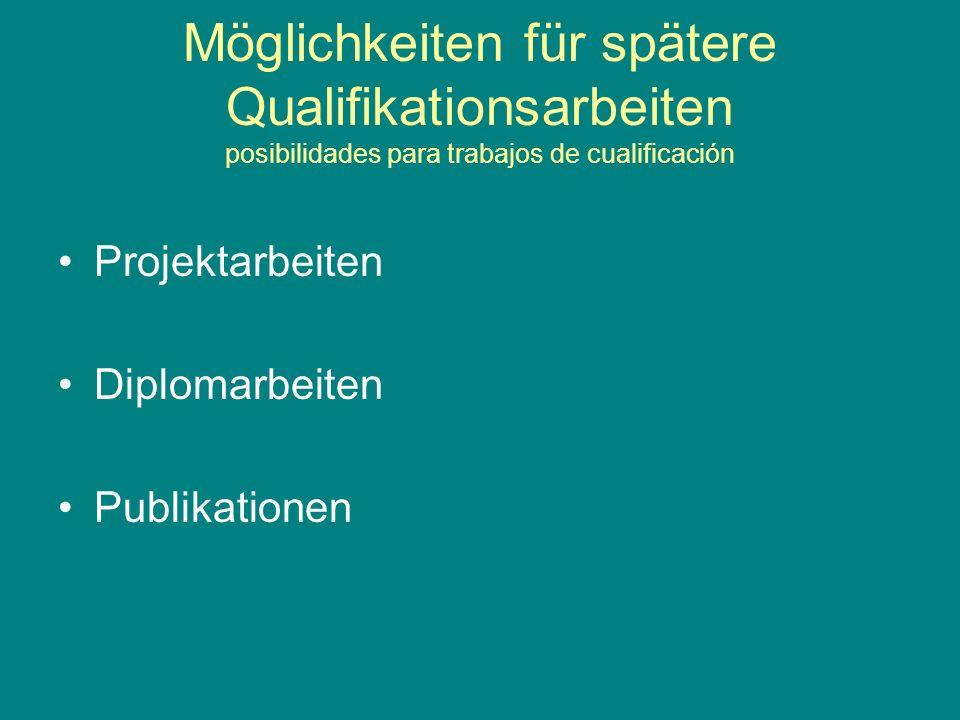 Möglichkeiten für spätere Qualifikationsarbeiten posibilidades para trabajos de cualificación