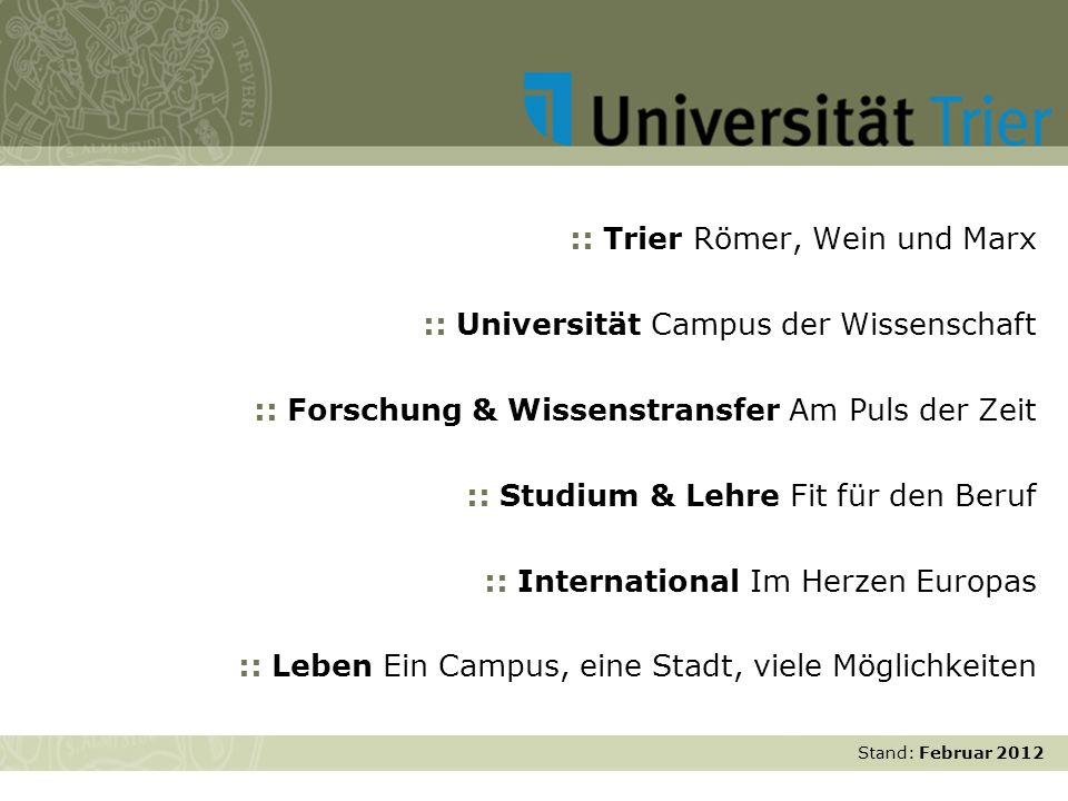 :: Trier Römer, Wein und Marx :: Universität Campus der Wissenschaft