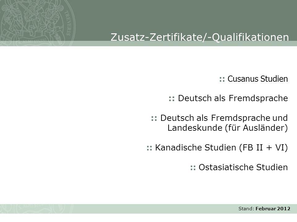 Zusatz-Zertifikate/-Qualifikationen