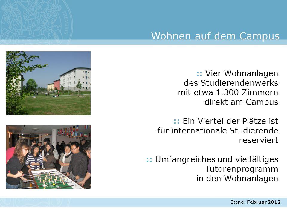Wohnen auf dem Campus :: Vier Wohnanlagen des Studierendenwerks mit etwa 1.300 Zimmern direkt am Campus.