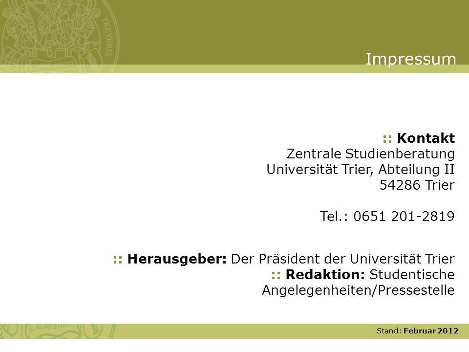 Impressum :: Kontakt Zentrale Studienberatung