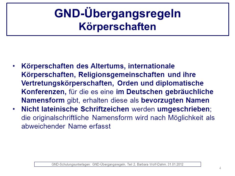 GND-Übergangsregeln Körperschaften