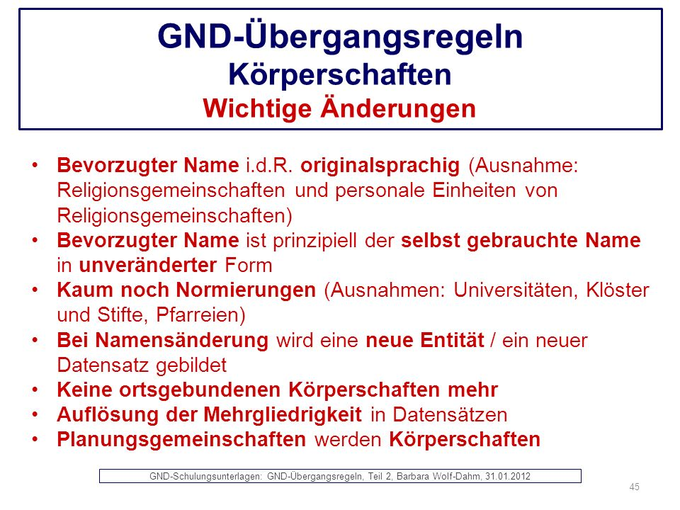 GND-Übergangsregeln Körperschaften Wichtige Änderungen
