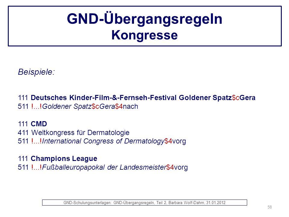GND-Übergangsregeln Kongresse