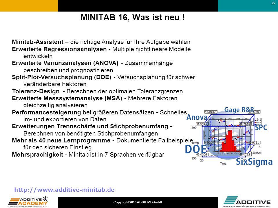 17-03-25 MINITAB 16, Was ist neu ! Minitab-Assistent – die richtige Analyse für Ihre Aufgabe wählen.